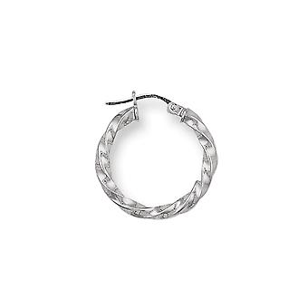 Eternity 9ct White Gold Small Round Twisted Creole Hoop Earrings