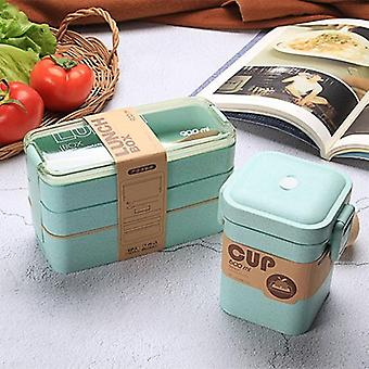 900ml Food Storage Container Healthy Lunch Box, 3 Layer Wheat Straw Bento Boxes