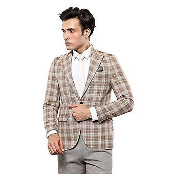 Checked beige slim-fit blazer | wessi