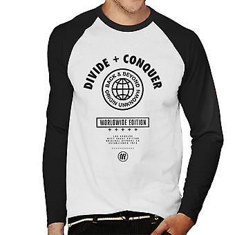 Divide & Conquer Worldwide Edition Globe Men's Camiseta de manga larga de béisbol