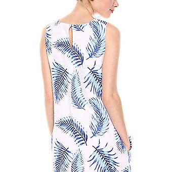 28 Palms Women's 100% Linen Hawaiian Print Shift Dress Fronds White/Blue, Small