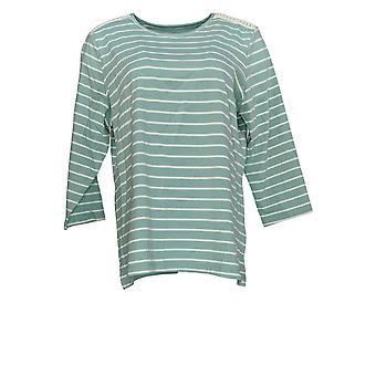 Denim & Co. Women's Top Striped Jersey 3/4 Sleeve Top Green A374614