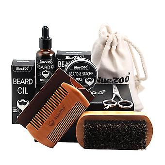 Men Beard Oil Kit Shaping Mustache Growing Moisturizing Comb
