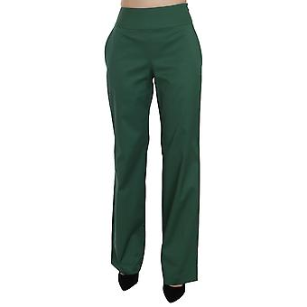 Green High Waist Straight Formal Trousers Pants -- PAN7537264