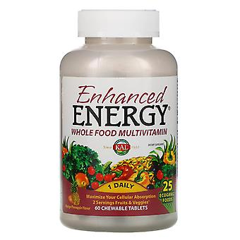 KAL, Verbeterde Energie, Whole Food Multivitamine, Mango Pineapple Flavor, 60 Chewab