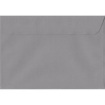 Grafit gråsæl skræl C5/A5 farvet grå konvolutter. 100gsm schweiziske Premium FSC-papir. 162 mm x 229 mm. tegnebog stil kuvert.