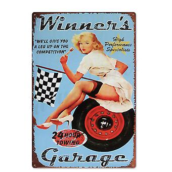 Pin Up Girl Tin Sign, Metal Vintage Sign For Wall Decor For Bar, Pub, Club -