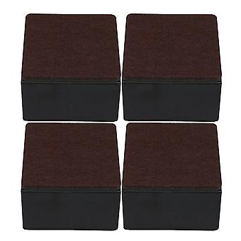 4pcs 80x52mm Carbon Steel Brown Furniture Legs Lifter Self Adhesive Black