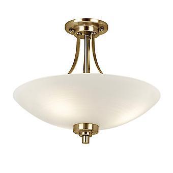 Endon Welles - 3 Light Flush Ceiling Light White, Antieke Messing, E27