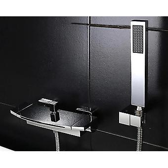 Pure Black Concealed Bathroom Shower Faucet Waterfall, Bathtub Shower Faucet