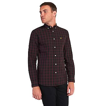 Lyle & Scott Check Poplin Shirt - Jet Black / Burgundy Check