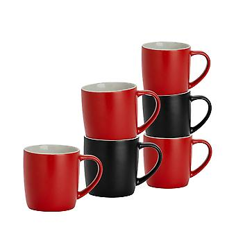 6 Piece Matt Tea and Coffee Mug Set - Modern Style Porcelain Cappuccino Latte Mugs - Black + Red - 350ml