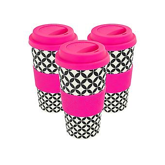 Reusable Coffee Cups - Bamboo Fibre Travel Mugs with Silicone Lid, Sleeve - 400ml (14oz) - Circles - Pink - Pack of 3
