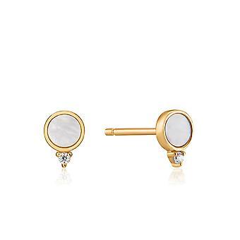 Ania Haie Hidden Gem Shiny Gold Mother Of Pearl Stud Earrings E022-01G