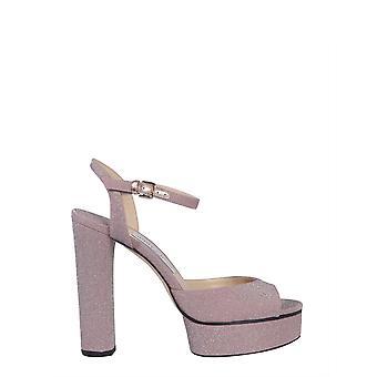 Jimmy Choo Peachyxgcballetpink Kvinder's Pink Læder Sandaler