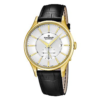 Candino Swiss C4559-1 Men's Gold Tone With Black Leather Strap Wristwatch