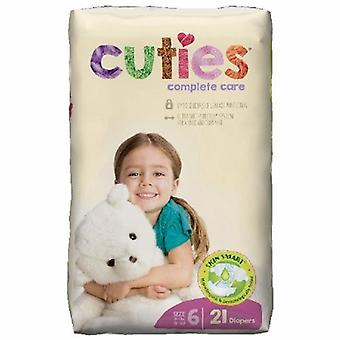 First Quality Unisex Baby Diaper Cuties Complete Care Tab Closure Size 6 Disposable Heavy Absorbency, 21 Bags