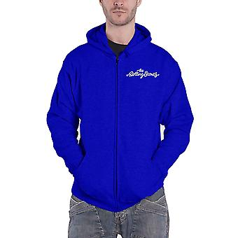 The Rolling Stones Hoodie Classic Tongue Band Logo new Official Navy Blue Zipped