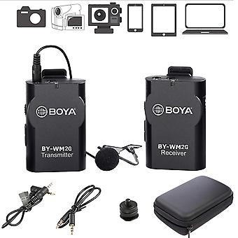 Boya by-wm2g wireless lavalier microphone system compatible with iphonex 8 8 plus 7 6 smartphone,can