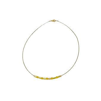 Halskette Glasperlen gelb gespiegelt