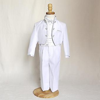 Smart Small Stand Collar, Silver Edge's Wedding Attire, Costume smoking pour enfants