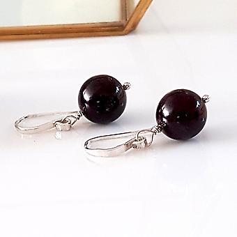 Gem Ball Earrings Garnet Wire Wrapped