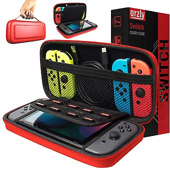 Orzly carry case compatible with nintendo switch - red protective hard portable travel carry case sh
