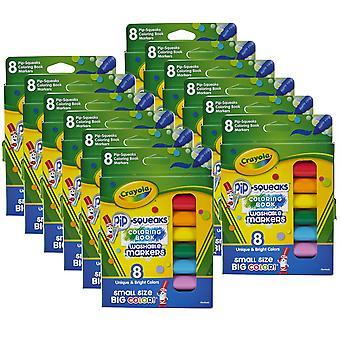 Pip Squeaks Marcadores de libros para colorear lavables, 8 por paquete, 12 paquetes