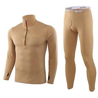 Mannen Winter Thermal Underwear Fleece Zweet Strakke Fitness Set
