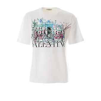 Valentino Vv3mg01f75p33u Men's White Cotton T-shirt