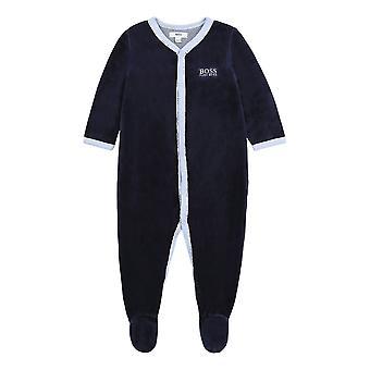 Hugo αφεντικό μωρό αγόρια ναυτικό βελούδο babygro j97163 849