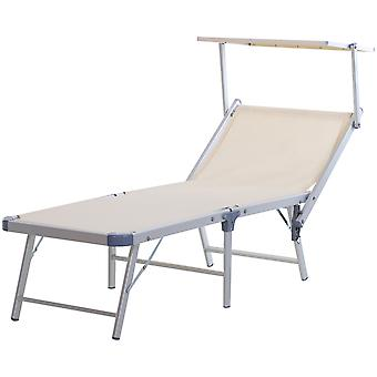 Outsunny Garden Sun Lounger Textilene Chaise Lounge Reclining Chair with Canopy Adjustable Backrest Bed Aluminium Frame - Beige