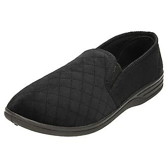 JWF Full Slippers House Shoe Quilted Twin Gusset Black