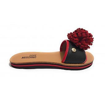 Zapatos de mujer Zapatero amor Moschino con Pompón Rojo Ds18mo02