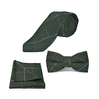 Papillon in tweed verde foresta a spina di pesce di lusso, cravatta e Set quadrato tascabile