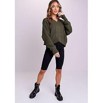 Oversized Tie Back Chunky Cable Knitted Jumper Verde Oscuro