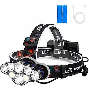 8 Led Headlamp Flashlight With White Red Lights For Outdoor Camping