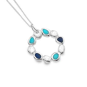 Sterling Silver Pendant Necklace - Origins Pebbles + Turquoise + Lapis Round