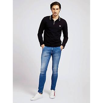 GUESS Oliver Long Sleeve Polo - Jet Black