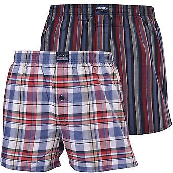 Jockey 2-Pack Check & Rayas Pantalones Cortos De Boxeo Tejidos, Cielo Profundo