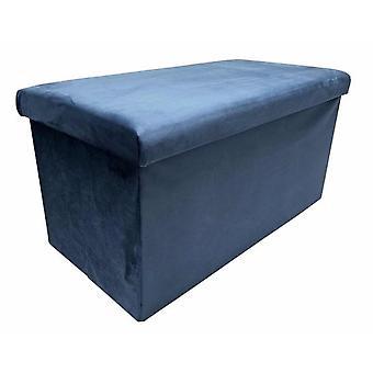 fußhocker faltbar 76 x 38 x 38 cm samtblau