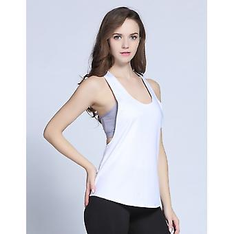 SPORX Women's Quick Dry Yoga Tanks Tops Sleeveless White