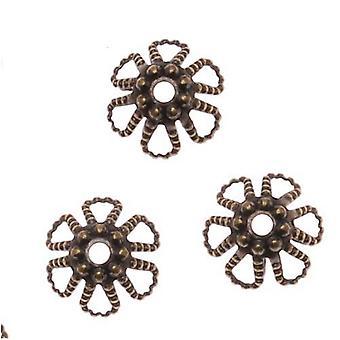 Antik messing kegle blomst perle hætter 6mm x 3,5 mm (50)