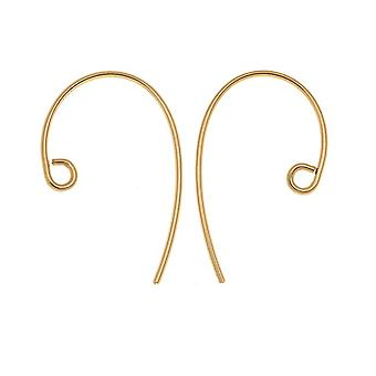 Earring Findings, Ear Wire 21mm Long 20 Gauge Thick, 2 Pairs, Gold Filled