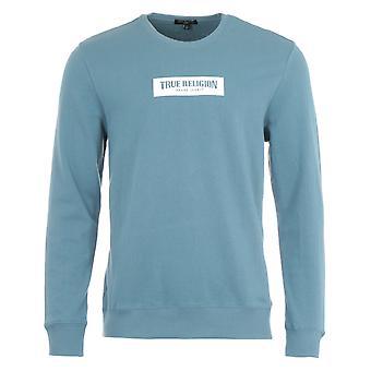 True Religion Box Logo Crew Neck Sweatshirt - Bluestone