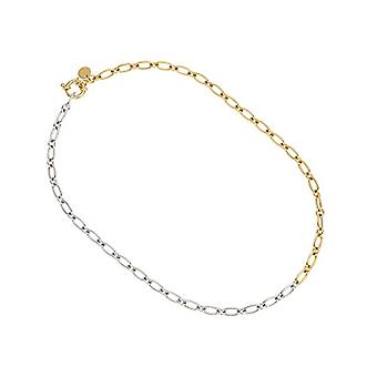 NOELANI - Women's necklace in silver 925 partially gold plated, patterned chain, 38 cm