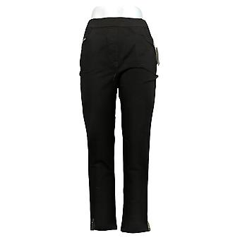 Quacker Factory Women's Pants DreamJeannes Pull-On Ankle Sequins Black A344312