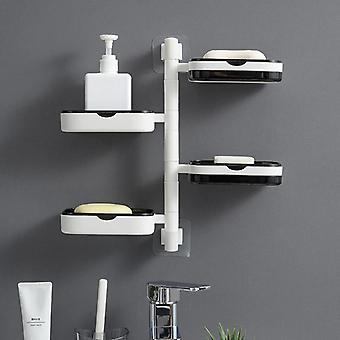 4 Lagen Drehbare Seifenkiste, wandmontiert, nicht perforiert, entwässerbare Toilette, Badezimmeraufbewahrung