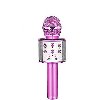 Pembe kablosuz-karaoke mikrofon bluetooth el tipi, taşınabilir hoparlör ev az9161