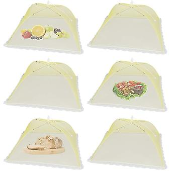 6 Pack Pop-up Picnic Food Tent Covers, Foldable Mesh Screen Food Covers(Yellow)